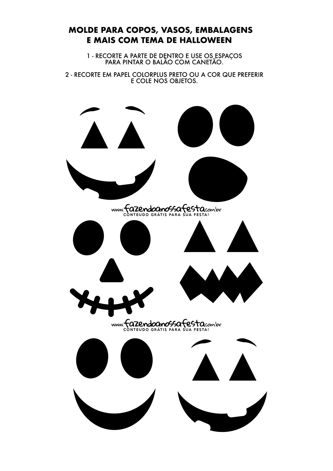 Moldes Para Halloween Molde Rostos Para Copo Potes Embalagens