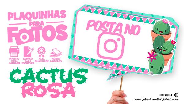 Plaquinhas Cactos Rosa