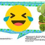 Plaquinhas Emoji para Festa Cactos Azul 27