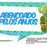 Plaquinhas para Festa Cactos Azul 14