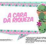 Plaquinhas para festa Cactos Rosa 18