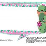 Plaquinhas para festa Cactos Rosa 24