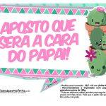 Plaquinhas para festa Cactos Rosa 29