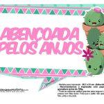 Plaquinhas para festa Cactos Rosa 35