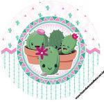 Rotulo Latinhas, Toppers e tubete Cactos Rosa
