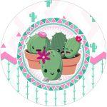 Rotulo Tubete 2 Cactos Rosa