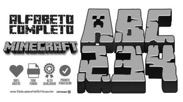 Alfabeto Minecraft para imprimir