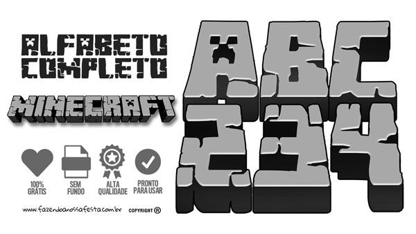 Letras Minegraft Fazendo A Nossa Festa: Letras E Números Para Imprimir E