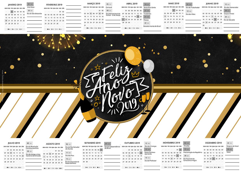 Calendario 2017 Ano Novo 2019