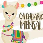Calendario Mensal Lhama Amarela Capa Calendario Mensal