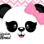 Calendario Mensal Panda Rosa Capa Calendario Mensal