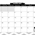 Calendario Mensal Panda fofo Agosto 2019