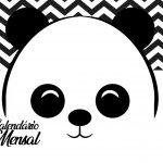 Calendario Mensal Panda fofo Capa Calendario Mensal