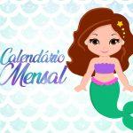 Calendario Mensal para Planner Sereia Capa Calendario Mensal
