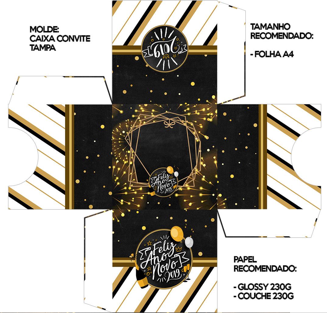 Convite Caixa Tampa Ano Novo 2019