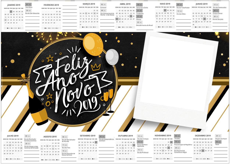 Convite Calendario 2019 Ano Novo 2019