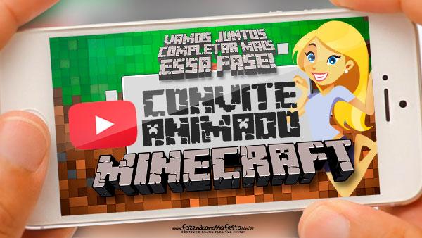 Convite animado Minecraft gratis