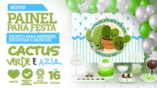 Painel Festa Cactos Verde e Azul para Imprimir