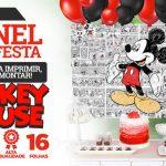 Painel Mickey Mouse usando Folhas A4 Molde Grátis para Imprimir