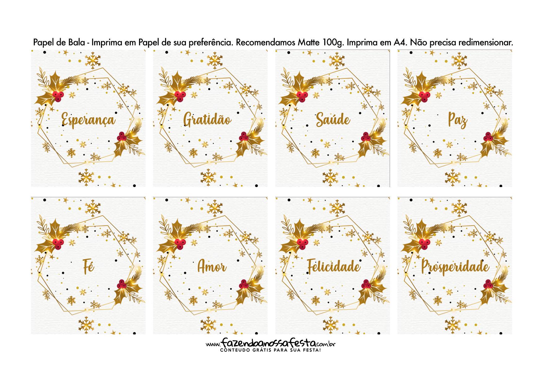Bala personalizada para Natal Branco e dourado