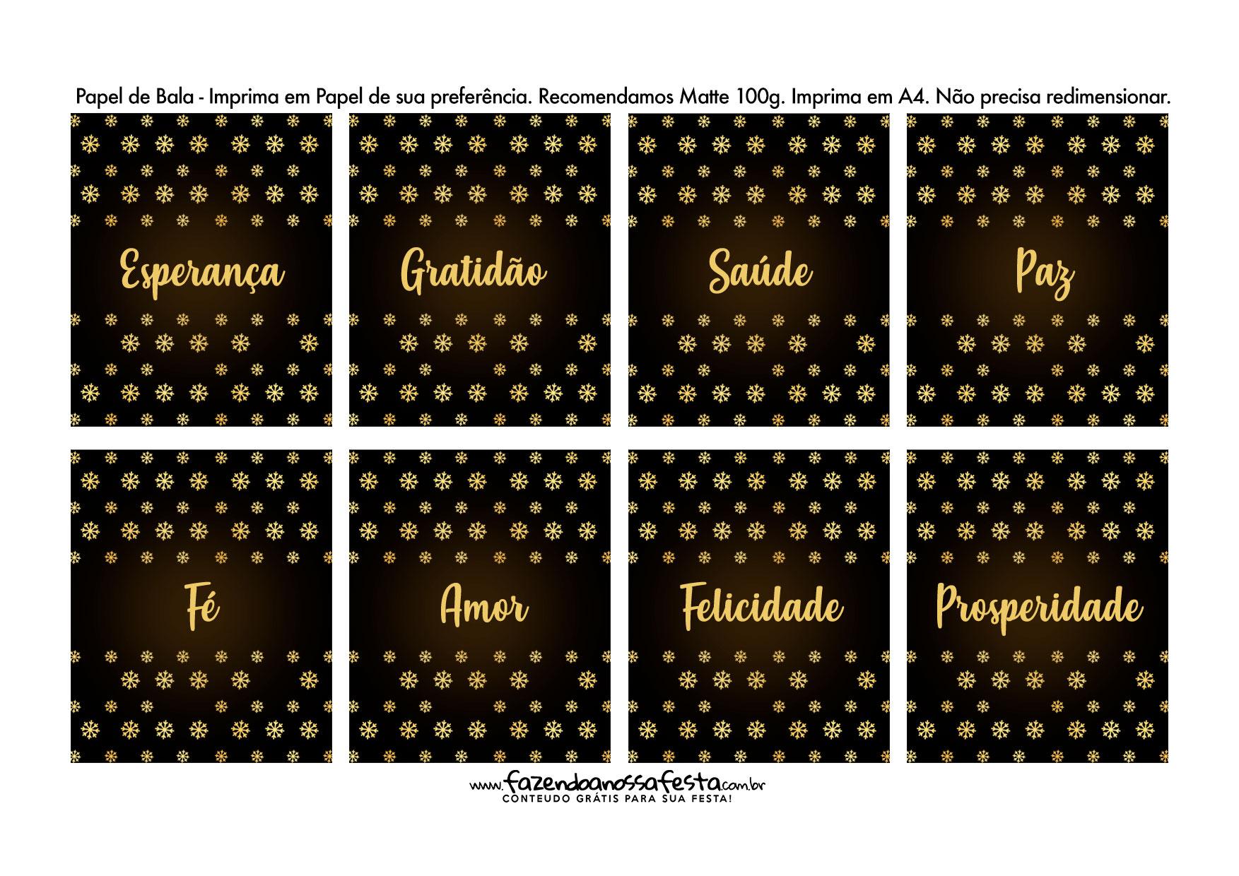 Bala personalizada para Natal Dourado