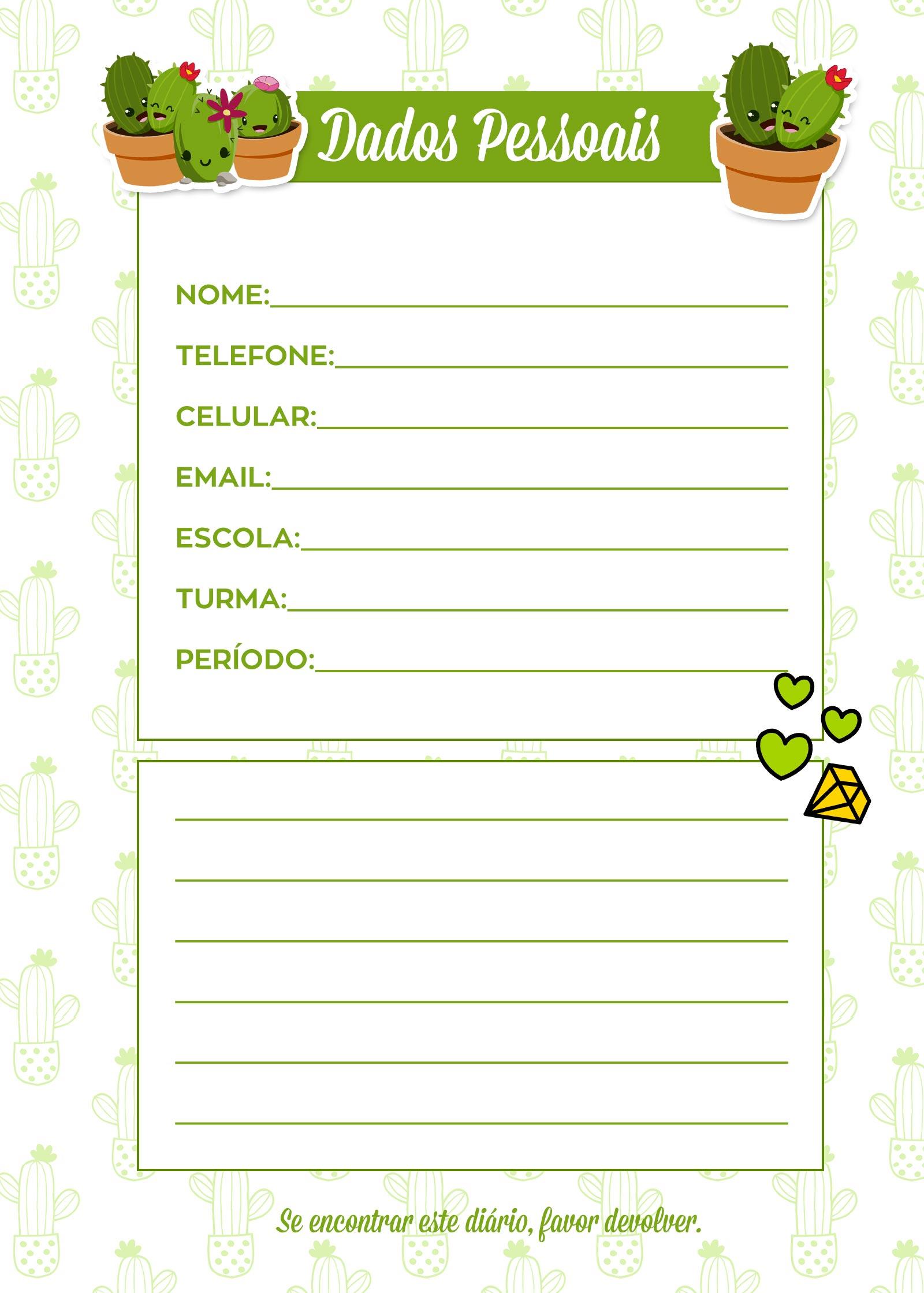 Caderno de Planejamento para Professores Dados Pessoais Cactos