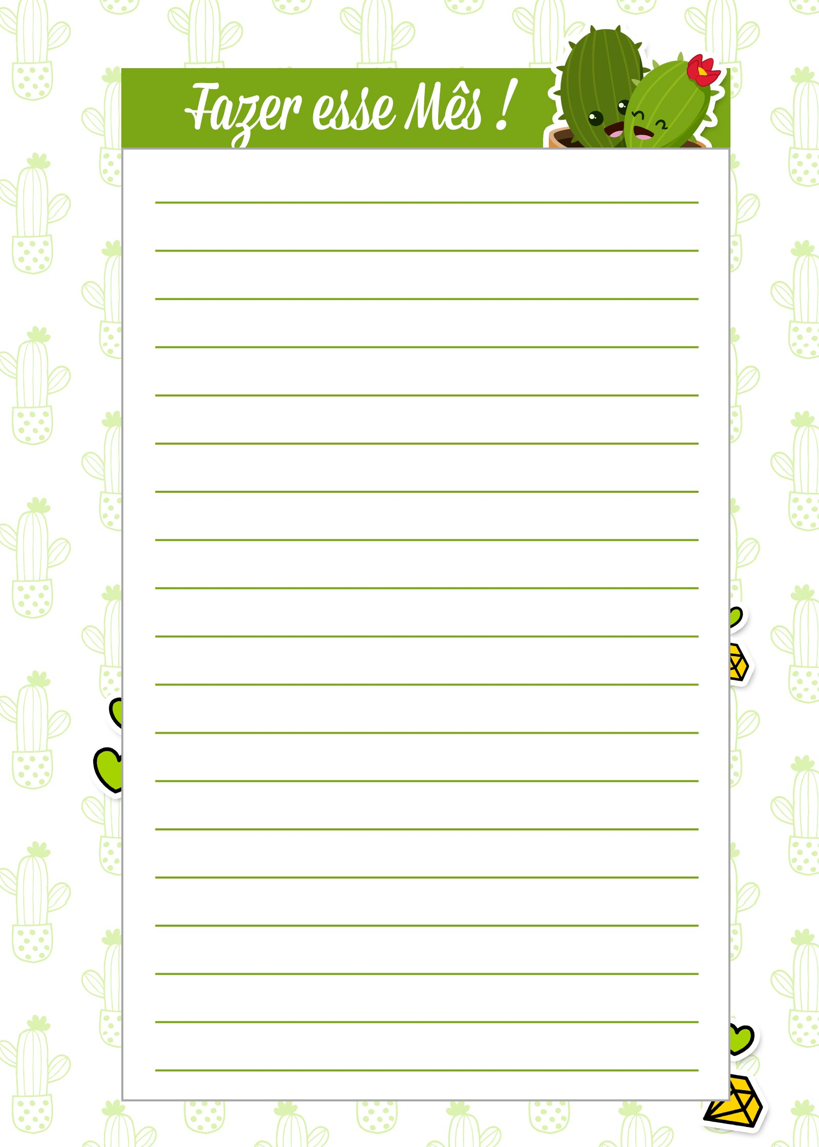 Caderno de Planejamento para Professores Fazes esse Mes Cactos