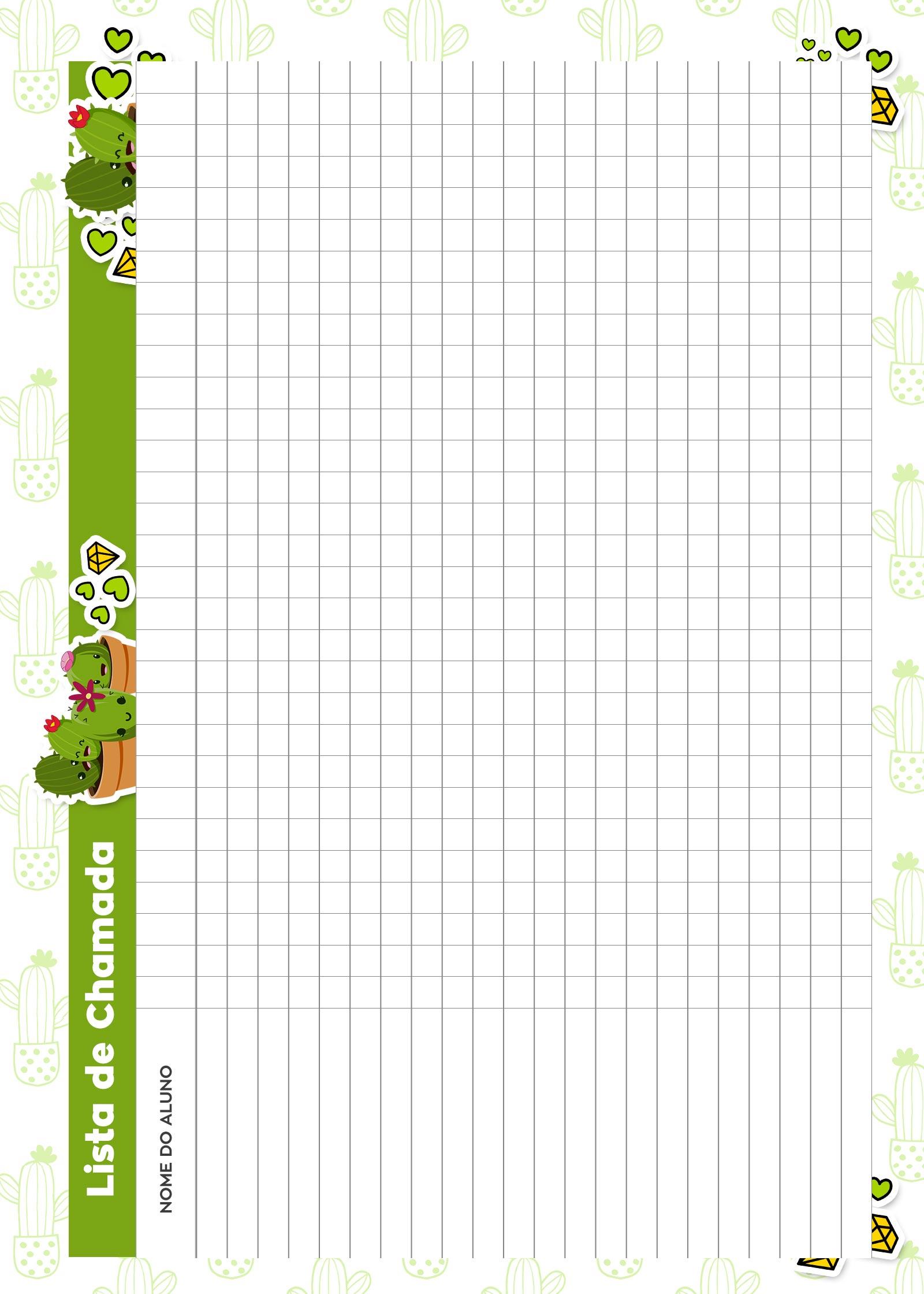 Caderno de Planejamento para Professores Lista de Chamada Cactos