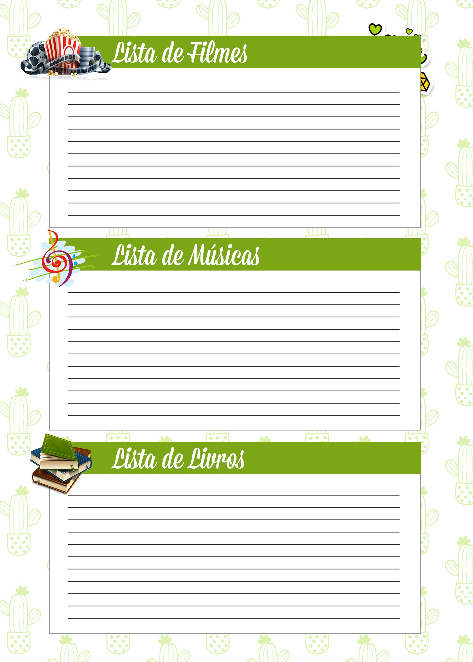 Caderno de Planejamento para Professores Lista de Filmes Musicas Livros Cactos