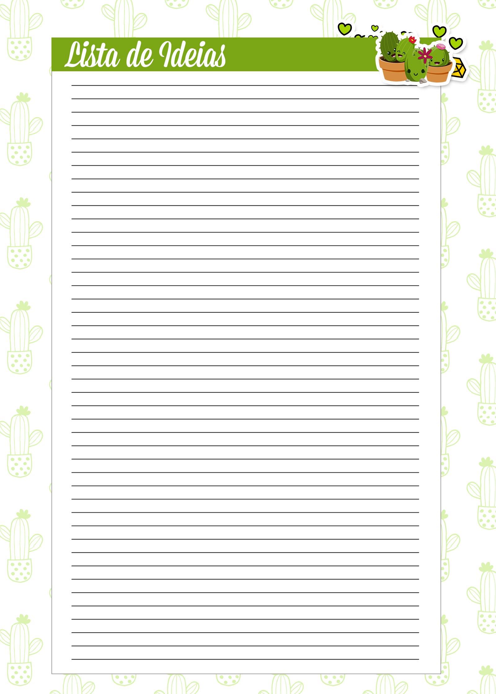 Caderno de Planejamento para Professores Lista de Metas Cactos