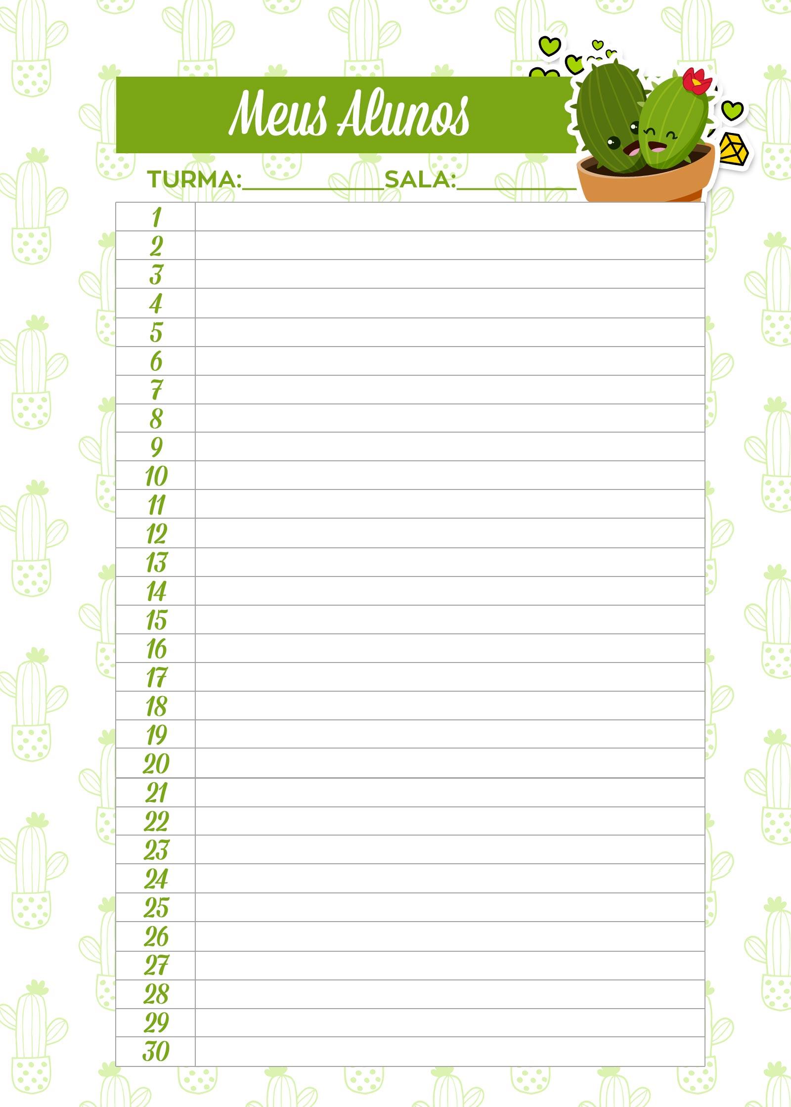 Caderno de Planejamento para Professores Meus Alunos Cactos