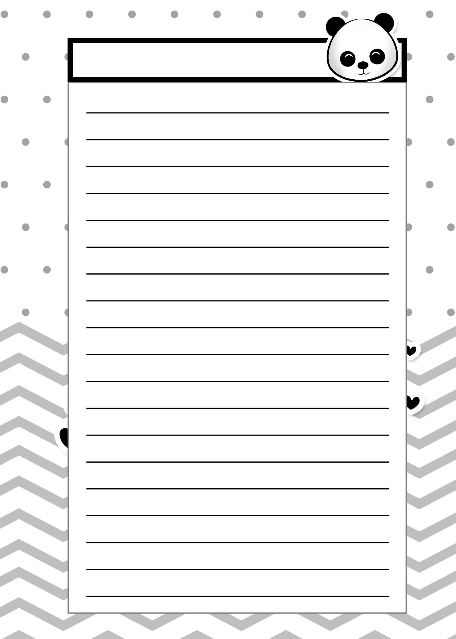 Caderno de Planejamento para Professores Modelo em Branco Panda