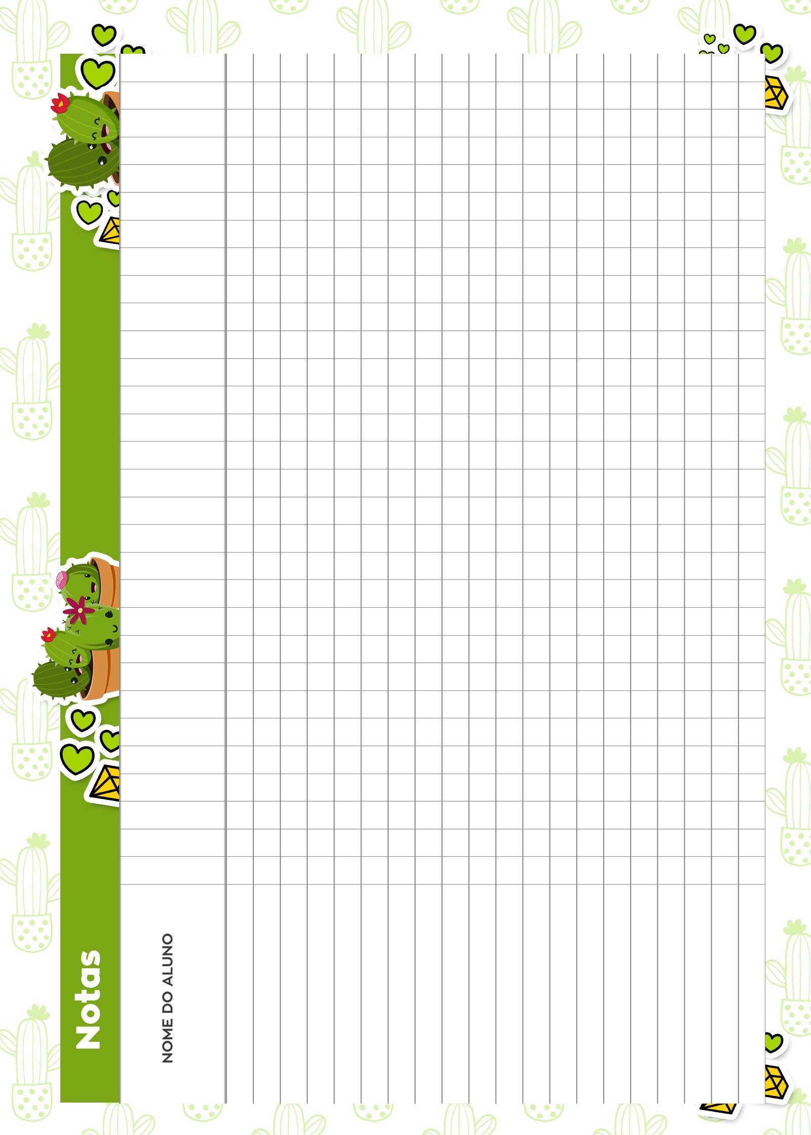 Caderno de Planejamento para Professores Notas Cactos