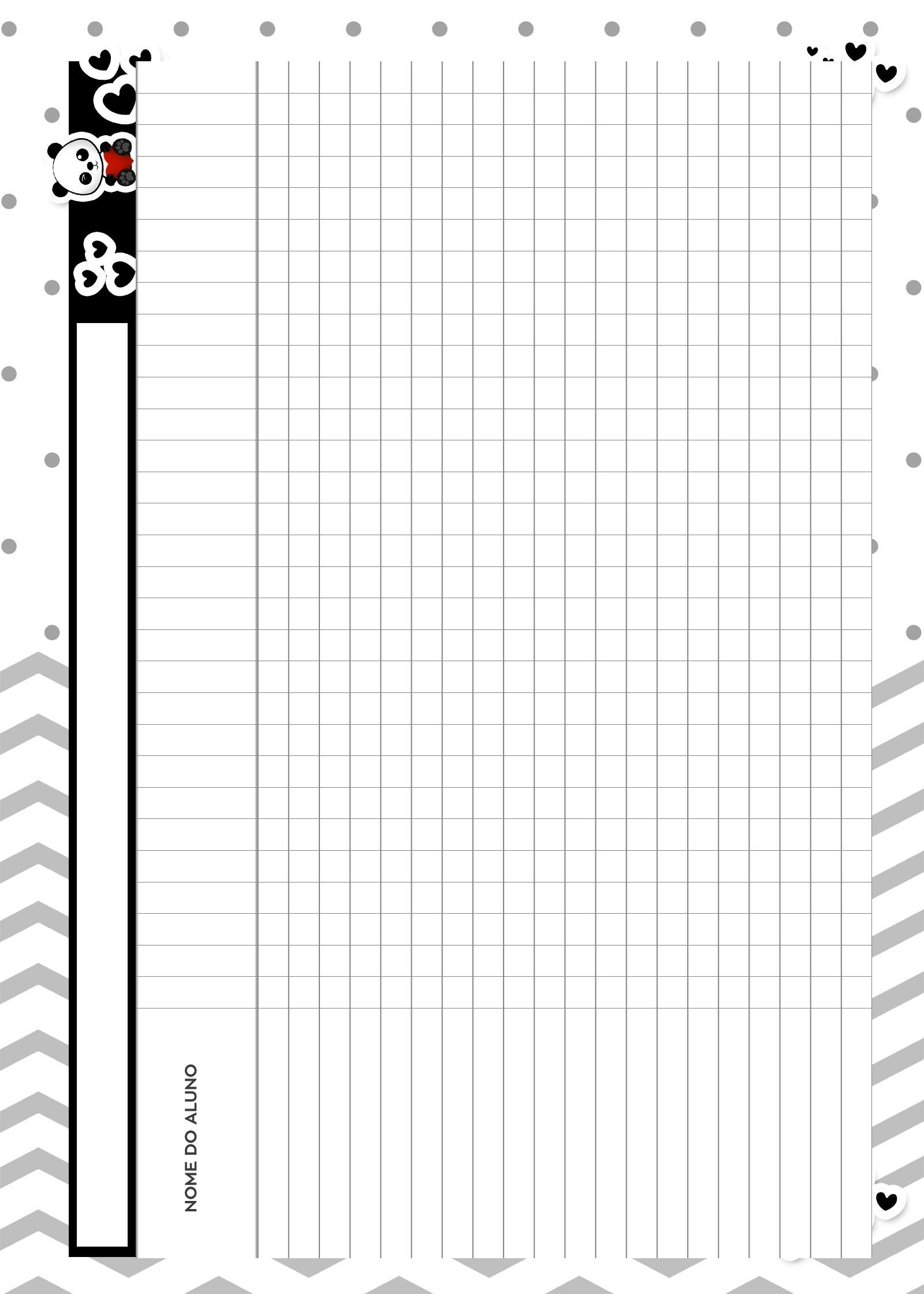 Caderno de Planejamento para Professores Tabela em Branco Panda