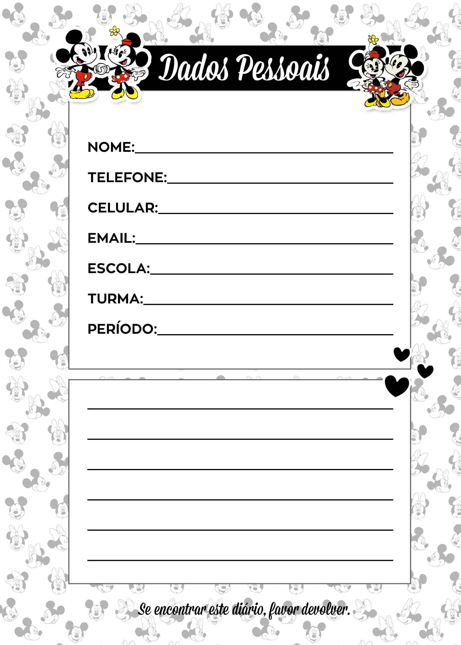 Caderno de Planejamento para professores Dados Pessoais Mickey e Minnie