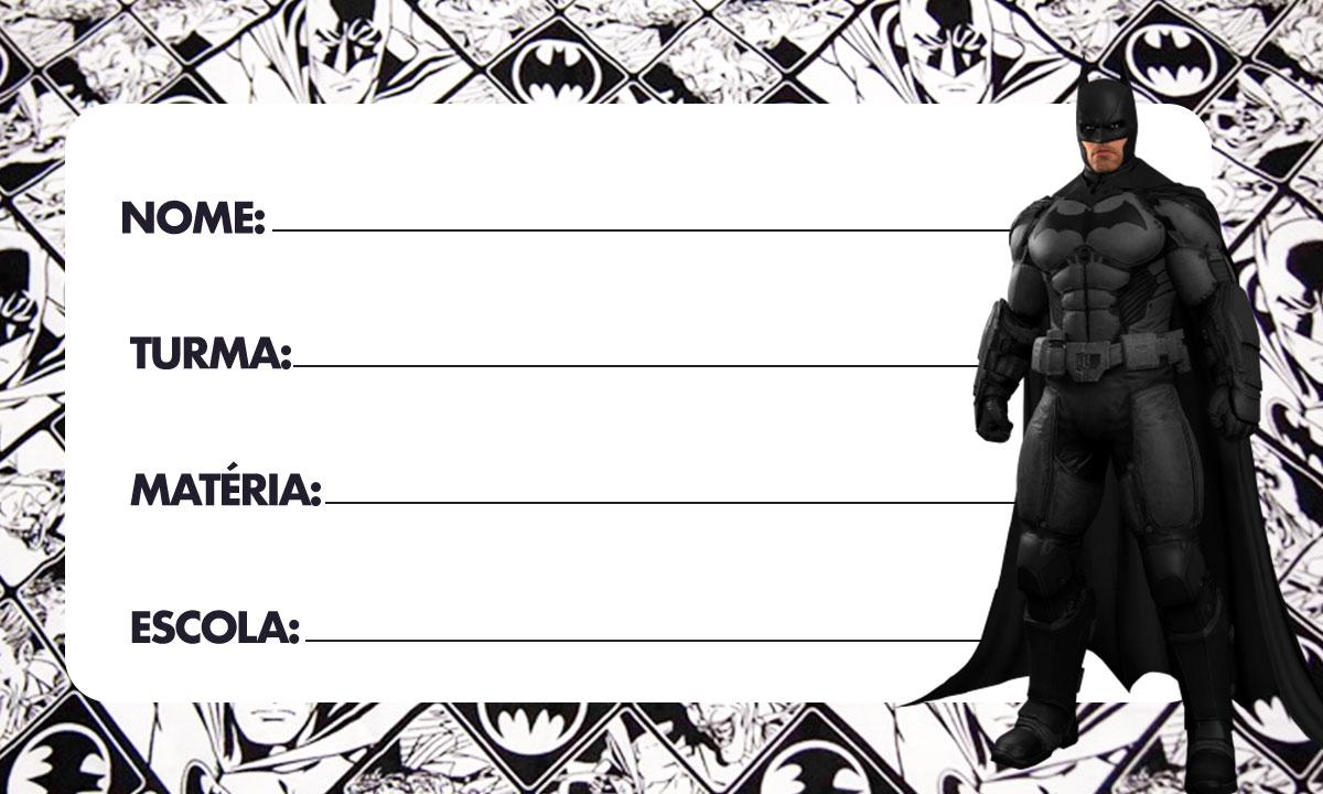 Etiqueta Escolar Batman para imprimir 6