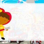 Etiqueta Escolar Bombeiro afro para editar
