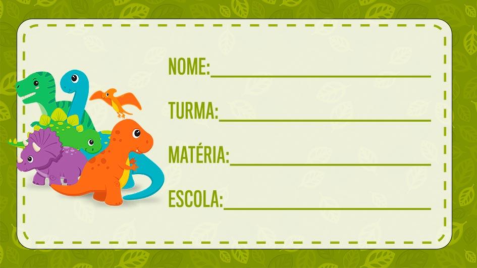 Etiqueta Escolar Dinossauros Para Imprimir Fazendo A Nossa Festa
