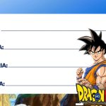 Etiqueta Escolar Dragon Ball Z 2