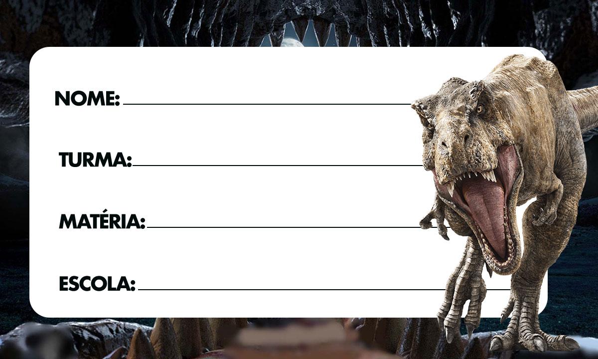 Etiqueta Escolar Jurassic World 2