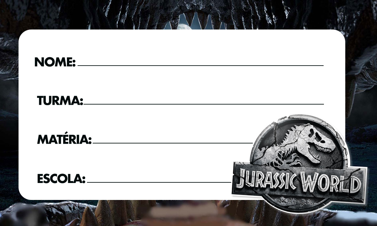 Etiqueta Escolar Jurassic World 4