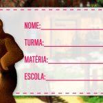 Etiqueta Escolar Masha e o Urso para imprimir