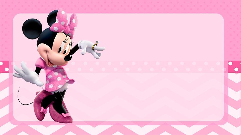 Etiqueta Escolar Minnie Rosa para editar