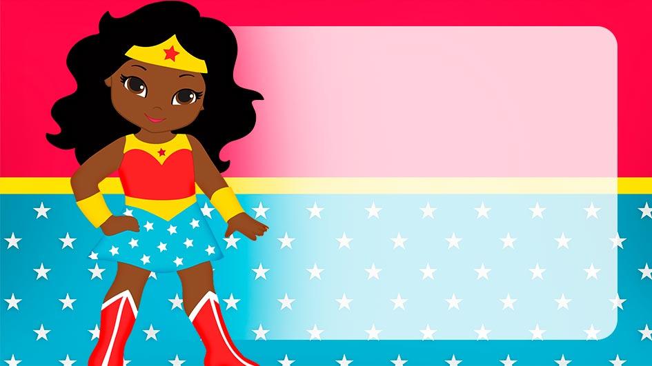 Etiqueta Escolar Mulher Maravilha afro para editar