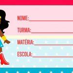 Etiqueta Escolar Mulher Maravilha cute afro para Imprimir