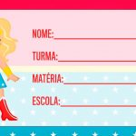 Etiqueta Escolar Mulher Maravilha cute loira para Imprimir
