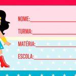 Etiqueta Escolar Mulher Maravilha cute para Imprimir