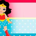 Etiqueta Escolar Mulher Maravilha cute para editar