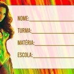 Etiqueta Escolar Mulher Maravilha filme novo para imprimir