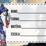 Etiqueta Escolar Optimus Prime para imprimir